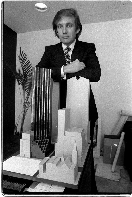 Donald Trump in 1980 with Trump Tower Model