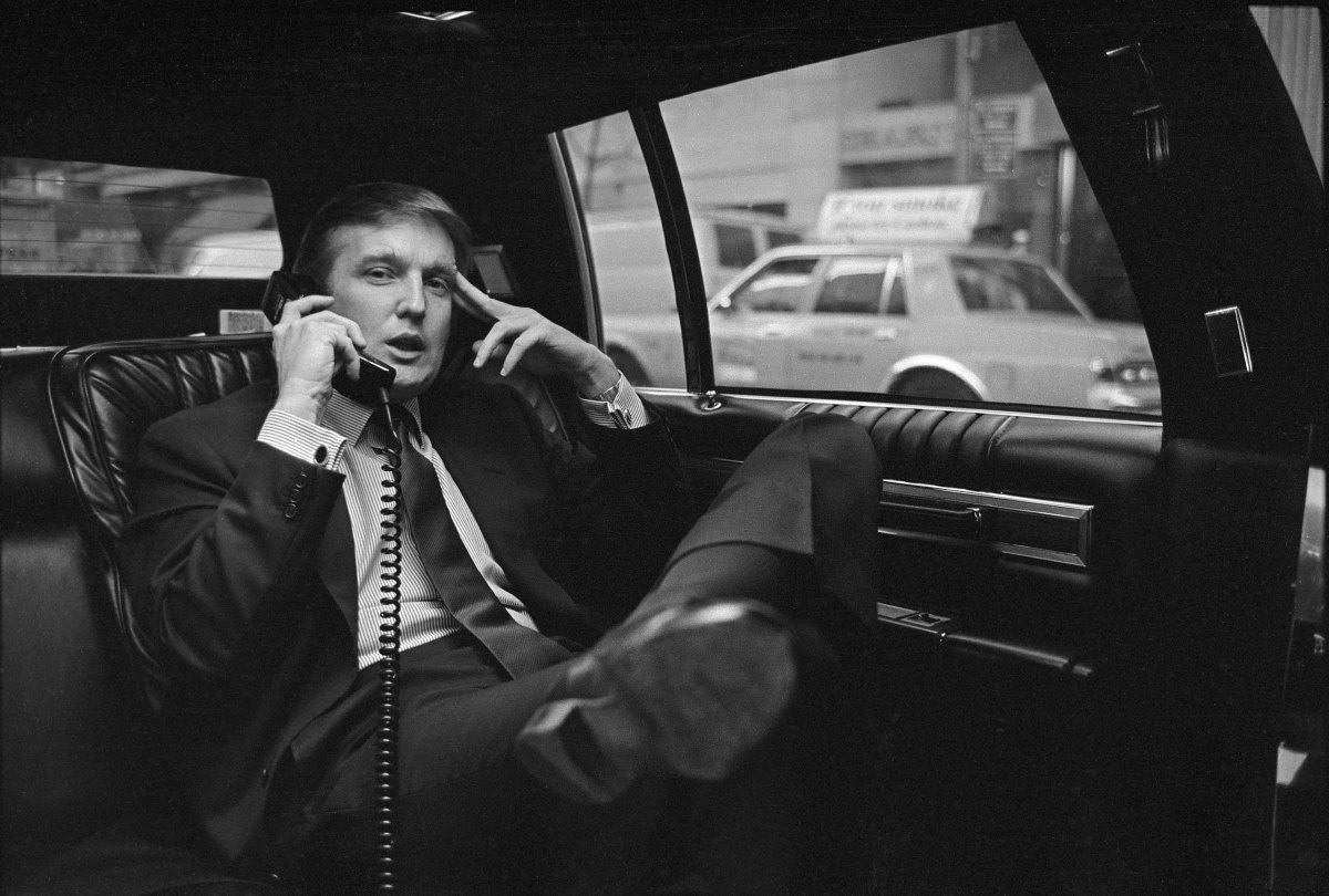 Donald Trump on the phone in his car