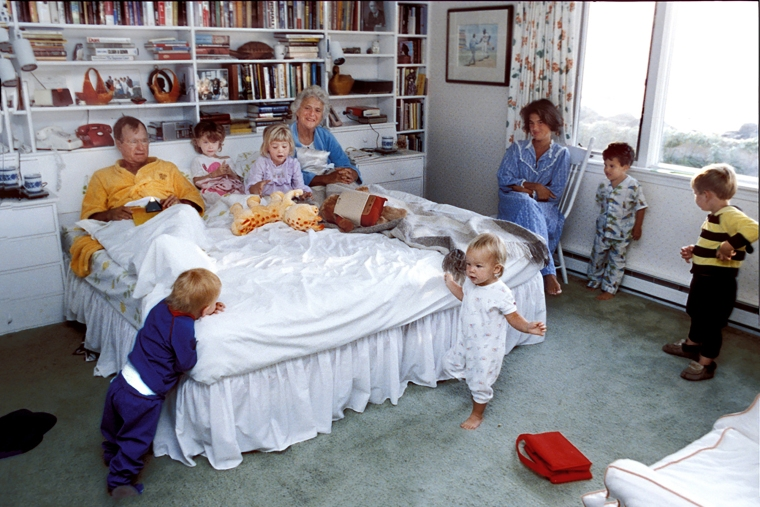 George and Barbara Bush in bed with some of their grandchildren including, Jenna and Barbara Bush, Pierce Bush, Marshal Bush, Jeb Bush Jr, Sam LeBlond and daughter in-law Margaret Bush at their home in Kennebunkport, Maine Aug 1987.
