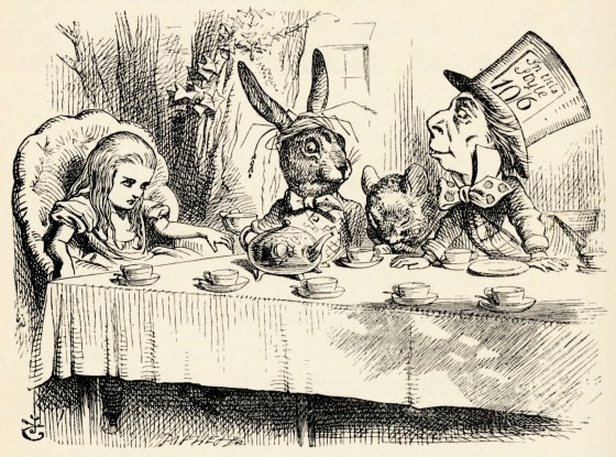 Alice in Wonderland - the Mad Hatter's Tea Party - from the book by Lewis Carroll (Charles Lutwidge Dodgson), English children's writer and mathematician
