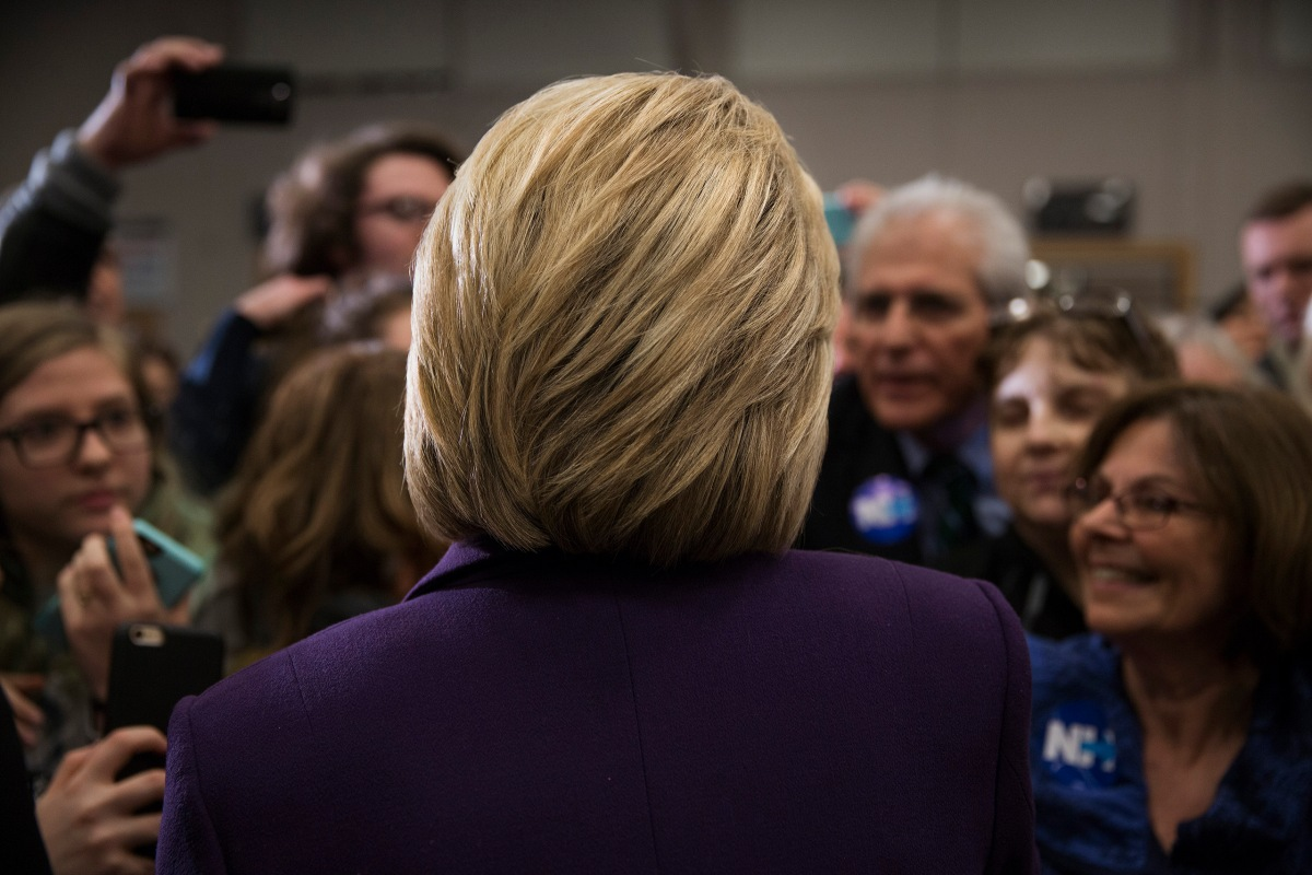 Hillary Clinton campaigning in the N.H. presidential primary at Winnacunnet High School, in Hampton, N.H., on Feb. 3, 2016.