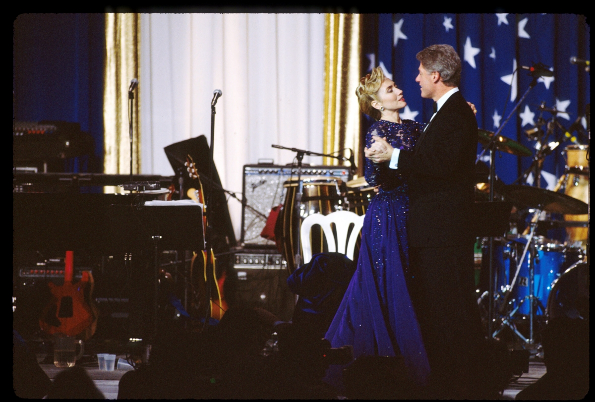 Bill and Hillary Clinton dance on stage at the inaugural ball, in Washington, on Jan. 20, 1993.