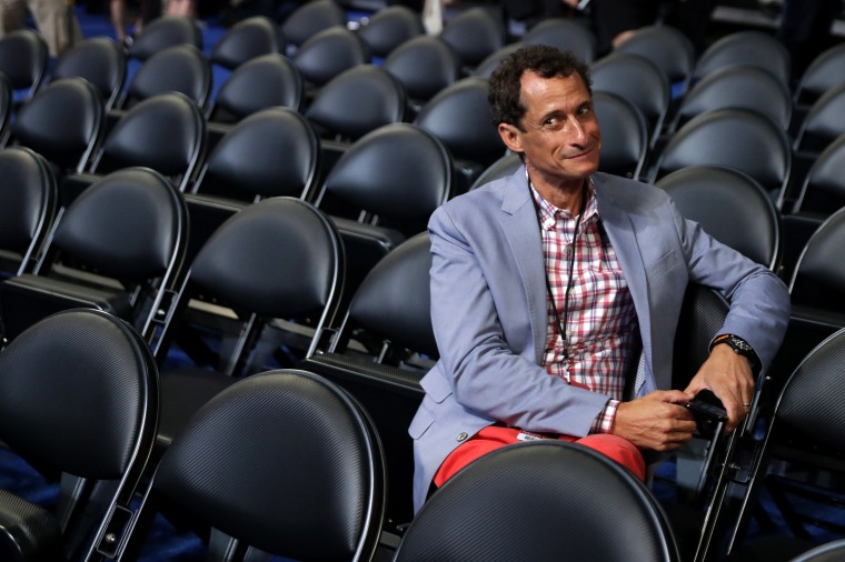 Anthony Weiner attends the start of the second day of the Democratic National Convention at the Wells Fargo Center, July 26, 2016 in Philadelphia.