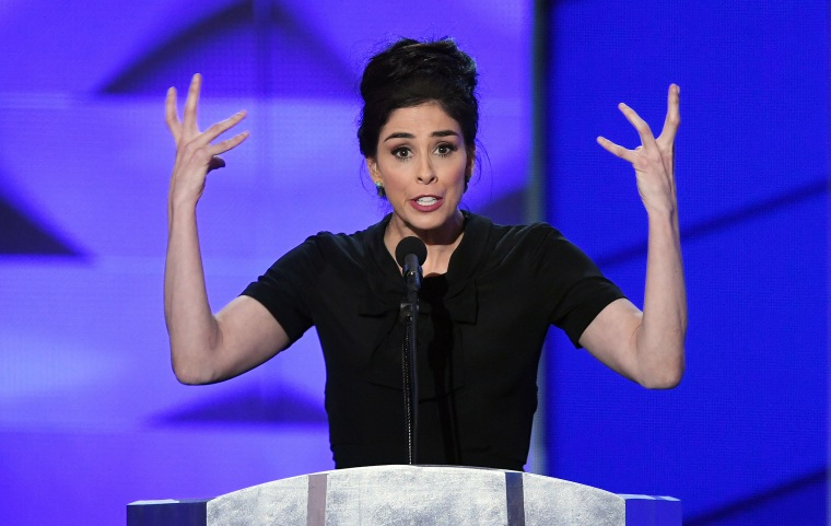 Actress Sarah Silverman speaks during the first day of the Democratic National Convention on July 25, 2016 at the Wells Fargo Center, Philadelphia.