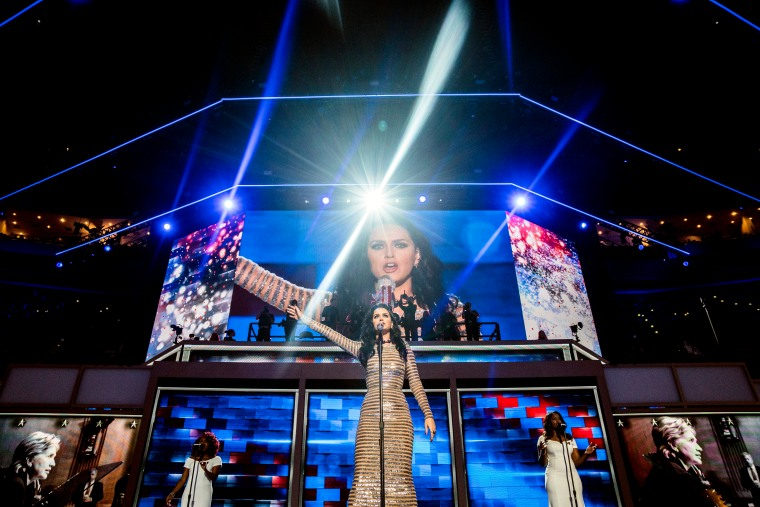 Katy Perry performs at the Democratic National Convention on July 28, 2016 in Philadelphia.