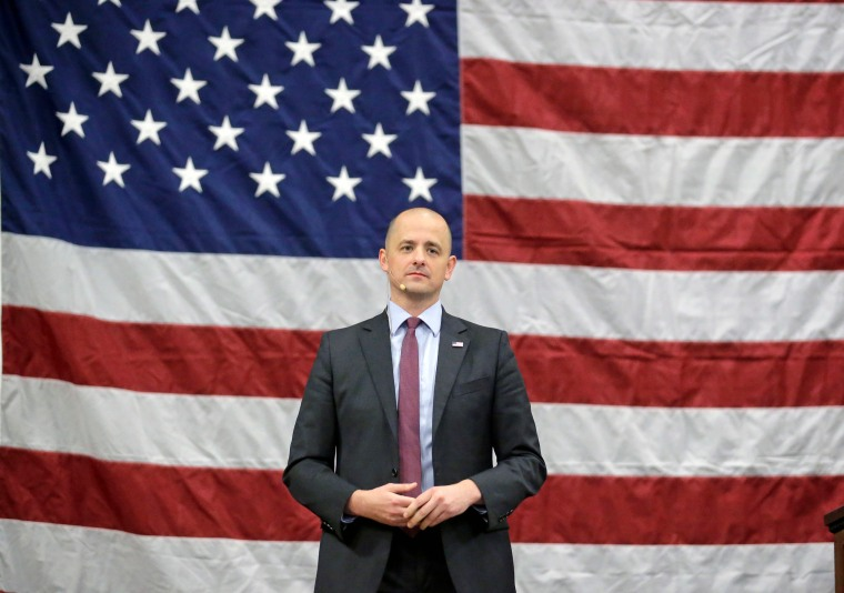 Independent candidate Evan McMullin speaks during a rally, on Oct. 21, 2016, in Draper, Utah.