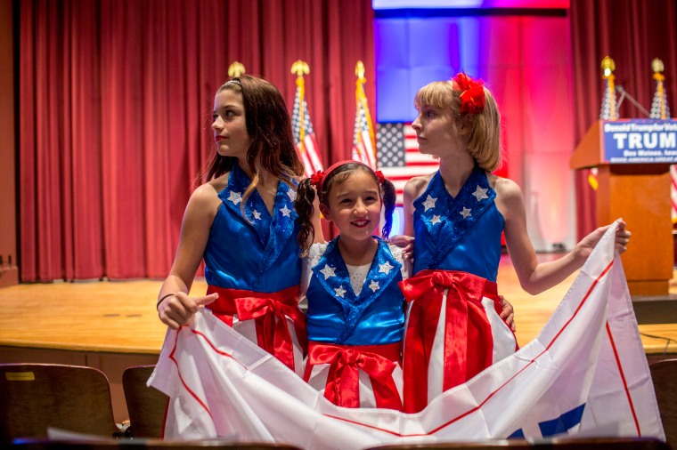 The USA Freedom Kids at a benefit rally/campaign rally by Donald Trump for the Wounded Warriors, a charity organization for Veterans, at Drake University, on Jan. 28th 2016, in Des Moines Iowa.