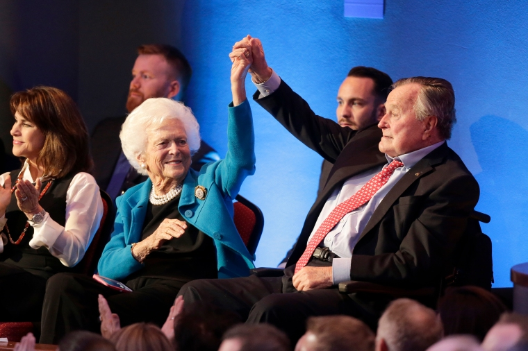 Barbara Bush and Former President George H.W. Bush at the Republican presidential primary candidate debate and Telemundo on Feb. 25, 2016, in Houston, TX.
