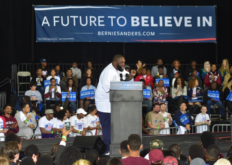 Rapper Killer Mike speaks in support of Bernie Sanders during the Democratic candidate's HBCU Tour and Rally At Atlanta University Center on Feb. 16, 2016 in Atlanta, Georgia.