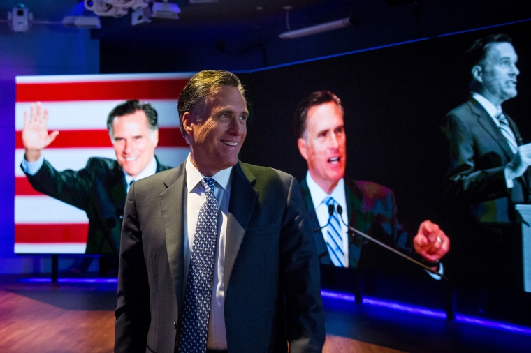 Mitt Romney exits following a Bloomberg Television interview, on March 4, 2016, in New York.