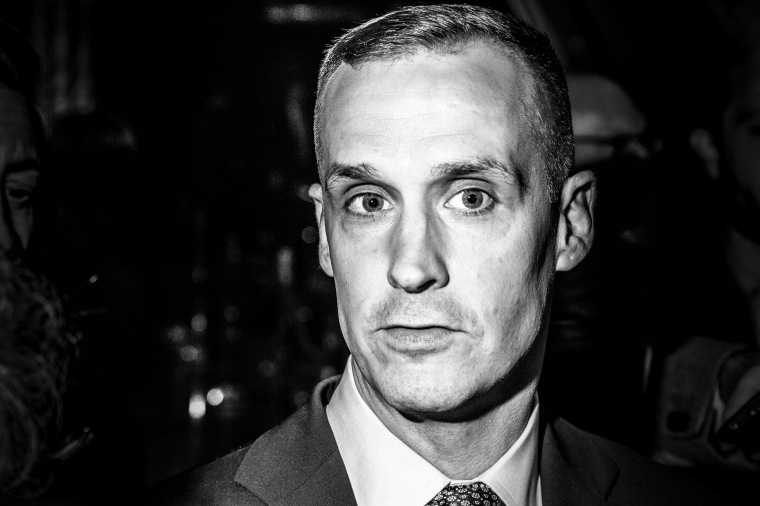 Corey Lewandowski, Trump's campaign manager, during a press conference held by Donald Trump at Trump Towers after he won the Indiana GOP Presidential Primary race, on May 3, 2016, in New York.