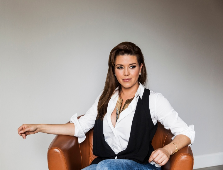 Former Miss Universe, Alicia Machado, poses for a portrait on May 6, 2016 in Los Angeles.
