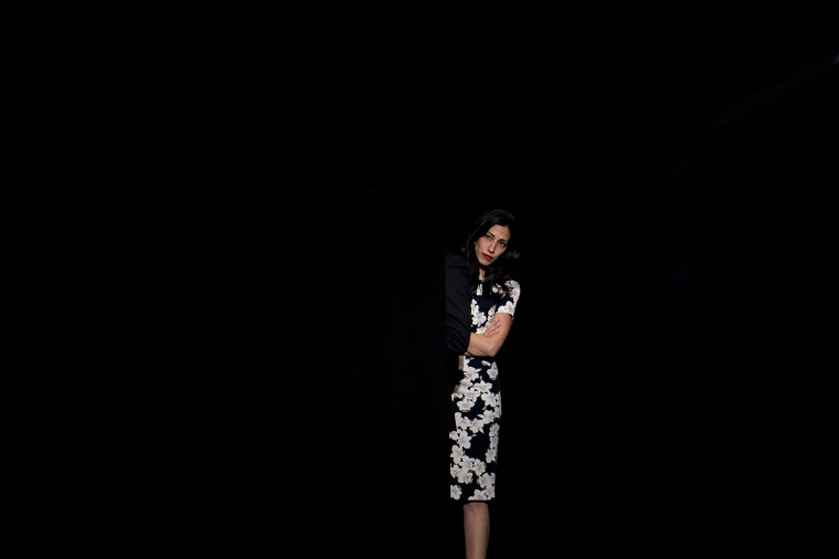 Huma Abedin waits for an event with Hillary Clinton at University of New Hampshire, on Sept. 28, 2016 in Durham, New Hampshire.