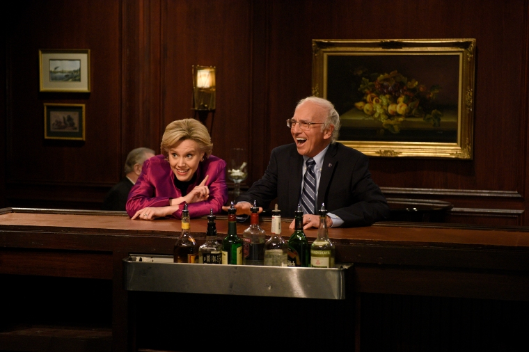 """Kate McKinnon as Hillary Clinton and Larry David as Bernie Sanders during the """"Hillary and Bernie Cold Open"""" sketch on """"Saturday Night Live"""" on May 21, 2016."""