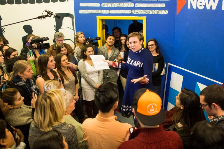 Screenwriter and actress Lena Dunham speaks to a crowd at a Hillary Clinton campaign office on January 8, 2016 in Manchester, New Hampshire.
