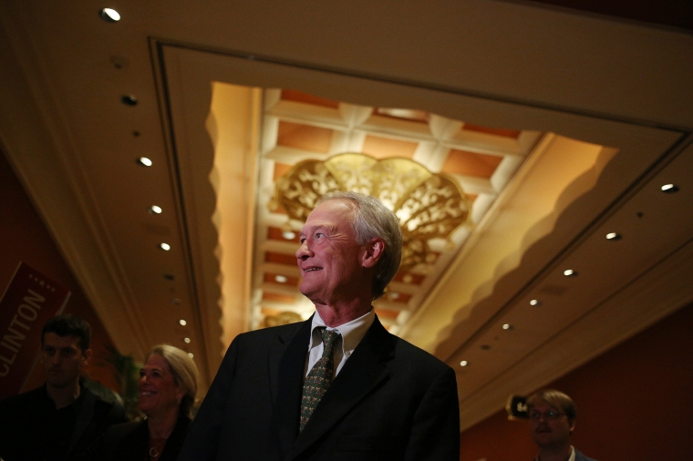 Lincoln Chafee speaks with reporters in the spin room following the first Democratic presidential debate at the Wynn Las Vegas resort and casino, on Oct. 13, 2015, in Las Vegas, NE.