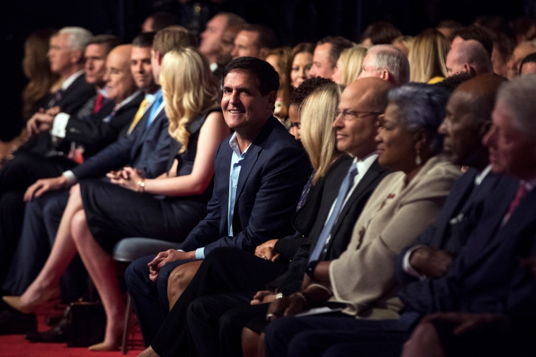 Mark Cuban sits in the audience before the first presidential debate between Hillary Clinton and Donald Trump at Hofstra University, on Sept. 26, 2016, in Hempstead, N.Y.