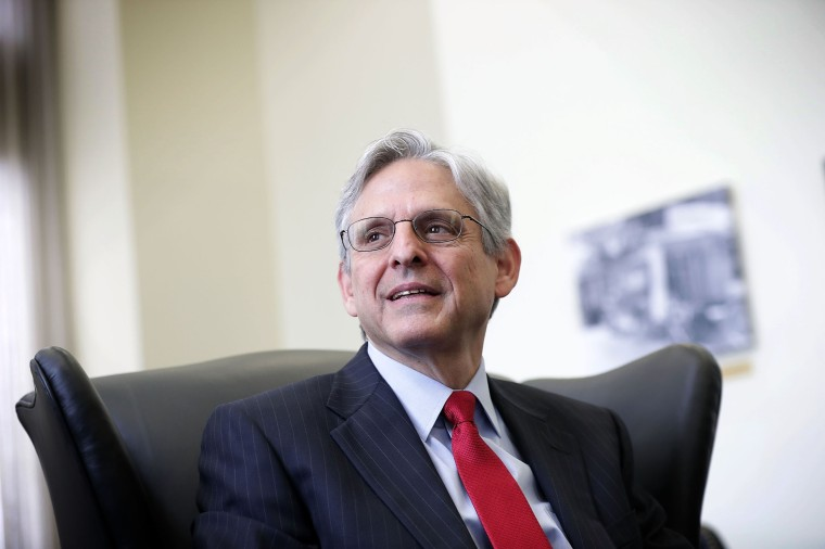 Merrick Garland during a meeting with U.S. Sen. Brian Schatz, on May 10, 2016 on Capitol Hill in Washington, DC.