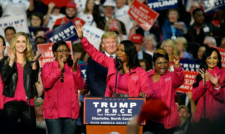 Reality TV personality Omarosa Manigault and other Women for Trump members endorse Donald Trump during a campaign rally at the Charlotte Convention Center, on Oct. 14, 2016., in in Charlotte, N.C.