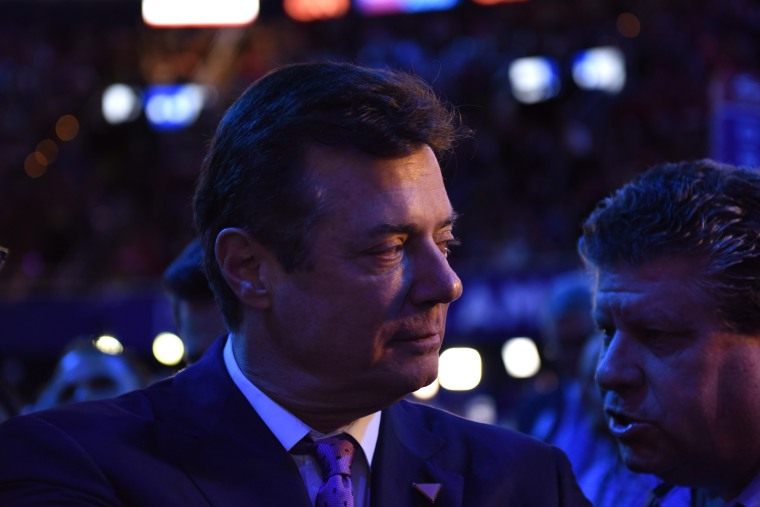 Trump campaign manager Paul Manafort walks the floor at the Republican National Convention, on July 21, 2016, in in Cleveland.