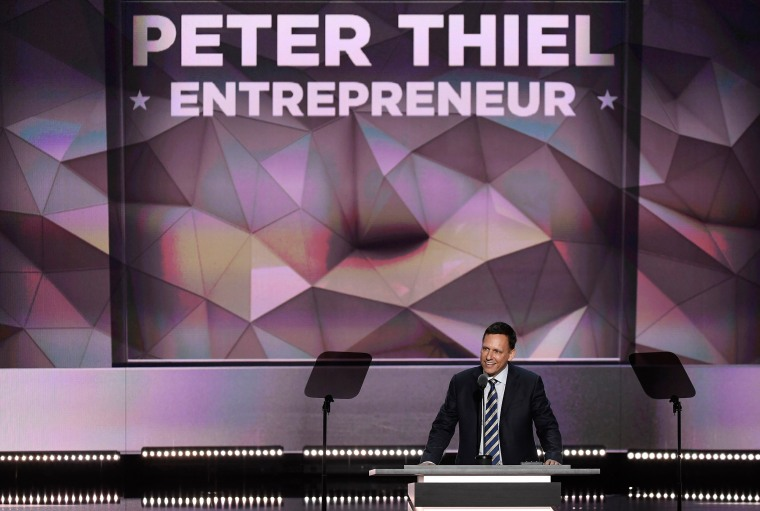 Peter Thiel, co-founder of PayPal Inc., speaks during the Republican National Convention, on July 21, 2016, in Cleveland.