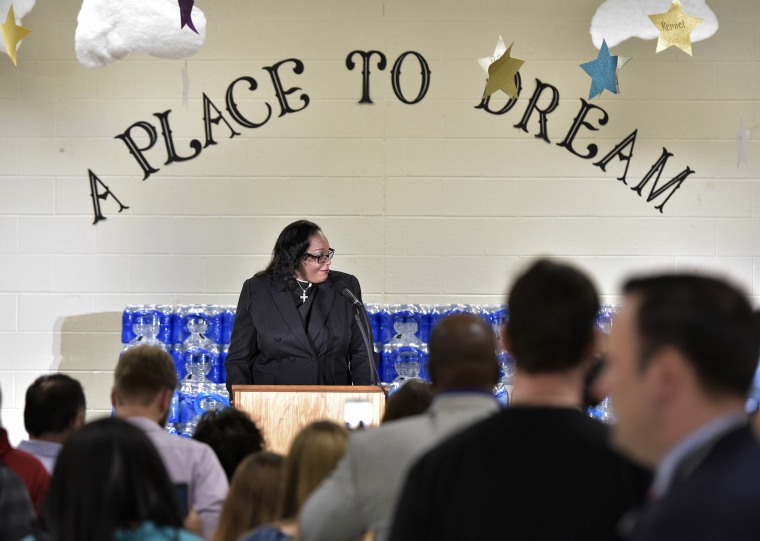 Rev. Faith Green Timmons speaks before Donald Trump at the Bethel United Methedoist Church on Sept. 14, 2016 in Flint, Michigan.