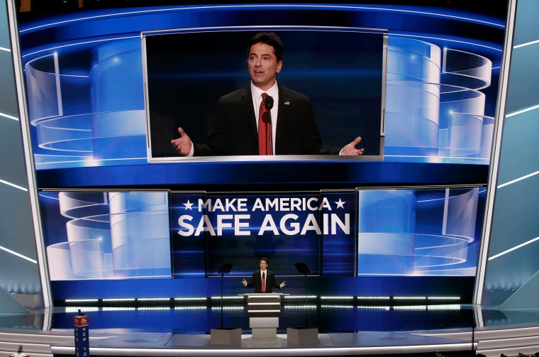 Actor Scott Baio speaks at the Republican National Convention, on July 18, 2016, in Cleveland.