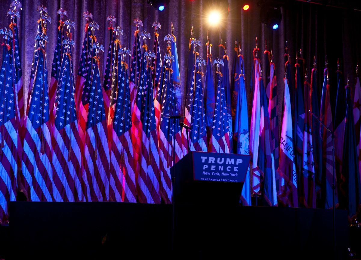 The stage at an election night party for Republican presidential candidate Donald Trump, Tuesday, Nov. 8, 2016 in New York's Manhattan borough. Trump faces Democratic nominee Hillary Clinton in the contest for president of the United States.