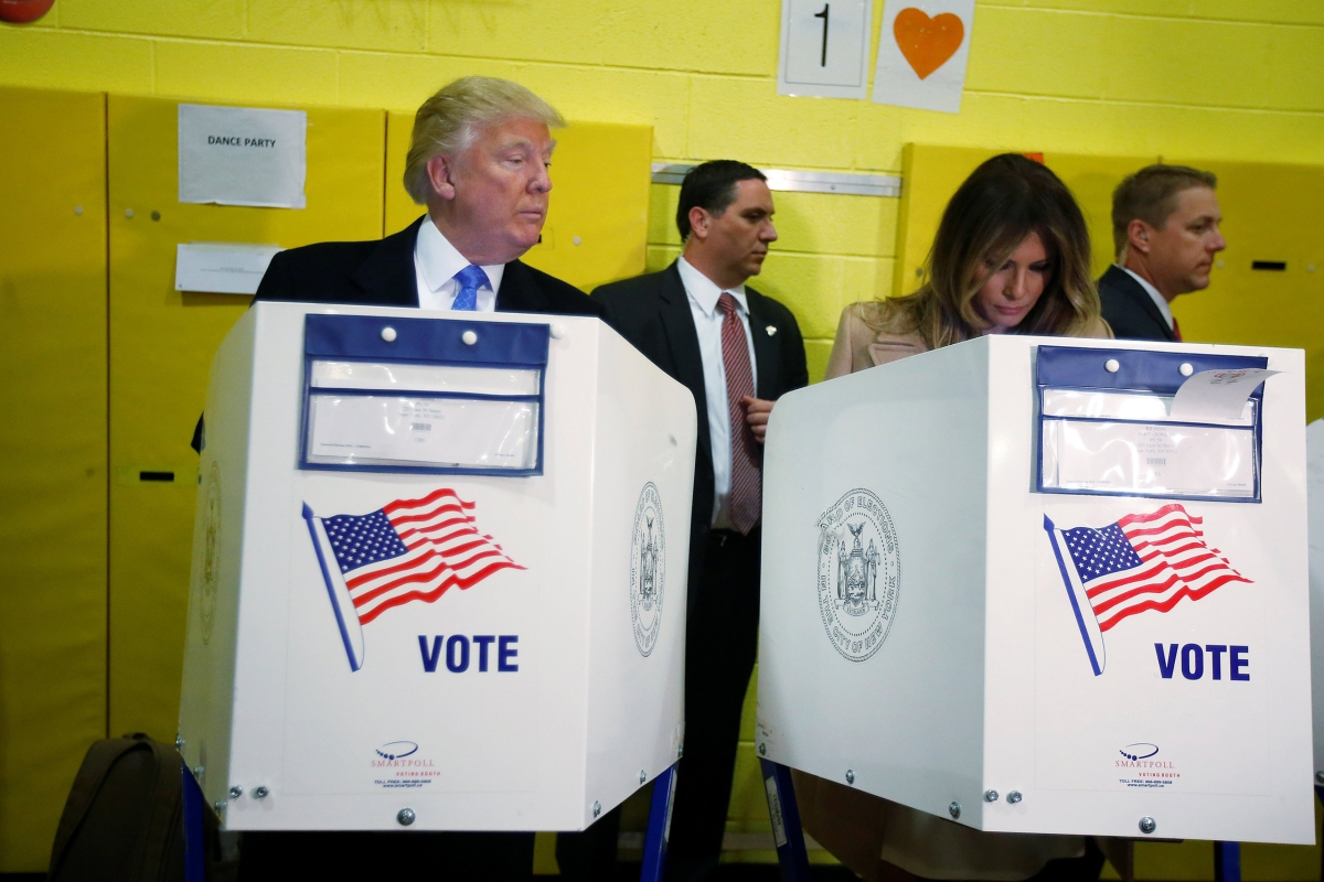 Donald Trump and his wife Melania Trump vote at PS 59 on Nov. 8, 2016, in New York.