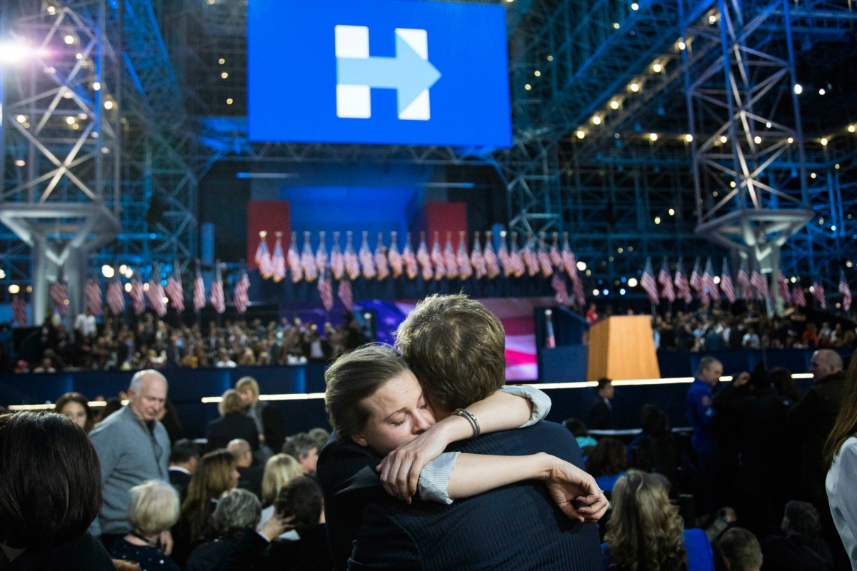 Supporters of Democratic presidential nominee Hillary Clinton embrace at the Javits Center in New York on Nov. 8, 2016.