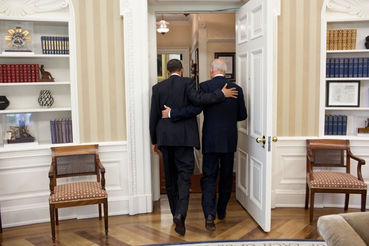 President Barack Obama and Vice President Joe Biden head towards the Oval Office Private Dining Room for lunch, May 4, 2011. (Official White House Photo by Pete Souza)This official White House photograph is being made available only for publication by news organizations and/or for personal use printing by the subject(s) of the photograph. The photograph may not be manipulated in any way and may not be used in commercial or political materials, advertisements, emails, products, promotions that in any way suggests approval or endorsement of the President, the First Family, or the White House.Ê