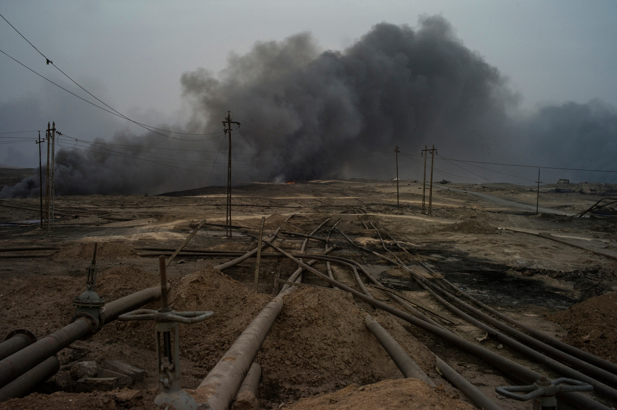 The pipelines at the oilfield in Qayyarah, which were used by ISIS for two years since 2014.