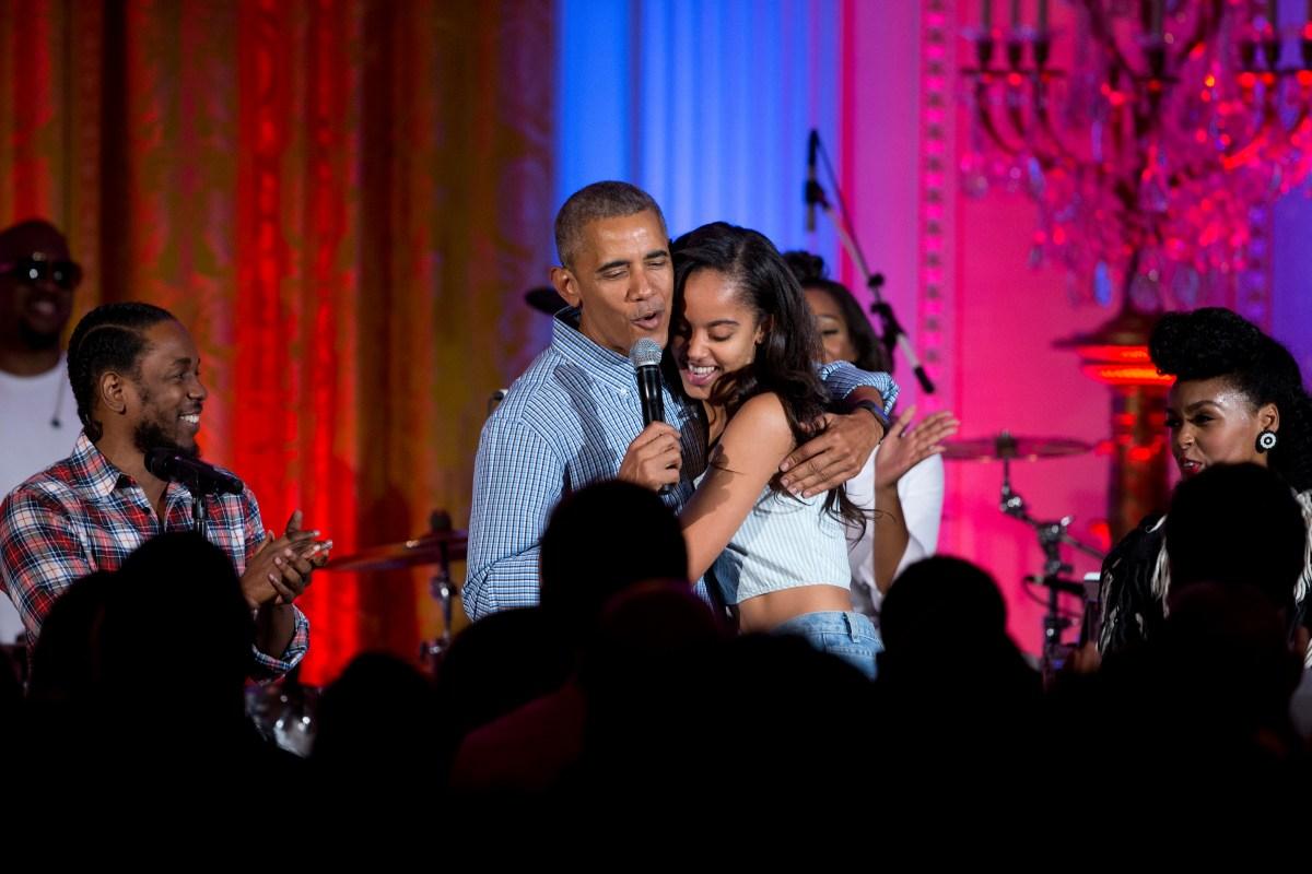 Barack Obama, Kendrick Lamar, Janelle Monae, Malia Obama
