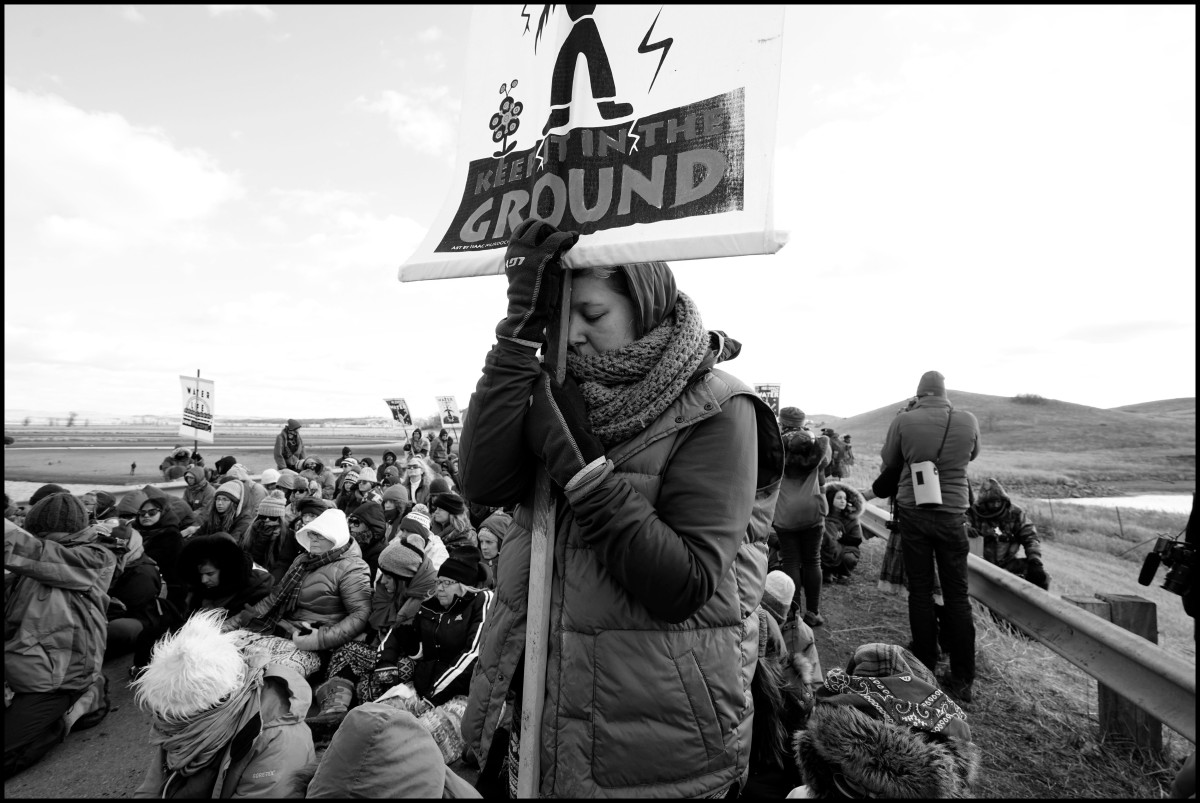 Protesters block a road during a prayer ceremony in Standing Rock, North Dakota, on Nov. 18, 2016. Two days later violence erupted between the protesters and police force, on Nov. 20, 2016.