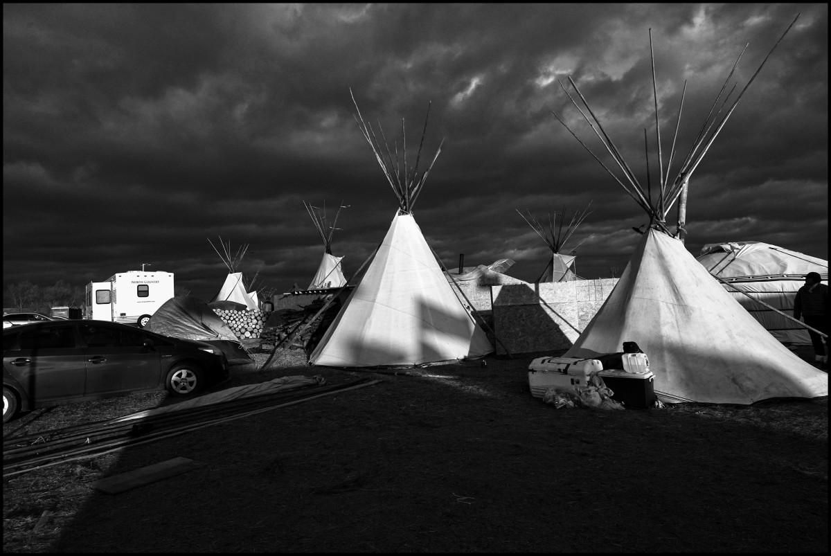 Teepee tents are set up in preparation for winter at Oceti Sakowin Camp in Standing Rock, North Dakota on November 18th, 2016. The most dedicated protesters say they will remain through winter, even though the average low temperature in North Dakota reaches nearly 0 F (-17.8 C) in those months.