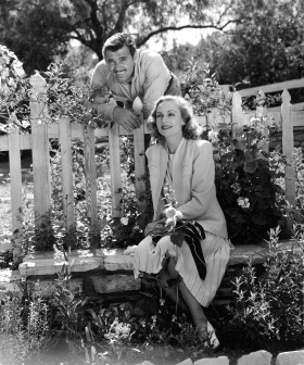 Newlyweds Clark Gable and Carole Lombard Gable pose for a series of official photos at their ranch in Encino California in April 1939.