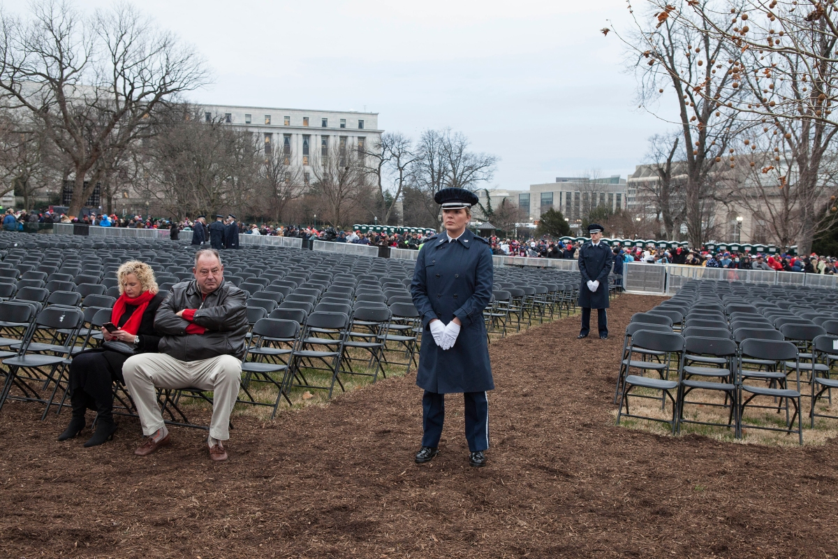 Capitol grounds during the inauguration ceremony of President Trump in Washington, D.C., on Jan. 20, 2017.