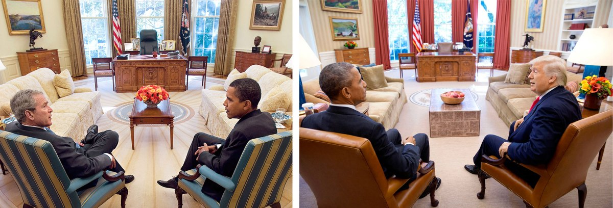 Bush And Obama: Eric Draper—The White House/Getty Images; Obama and trump: Pete Souza—The White House