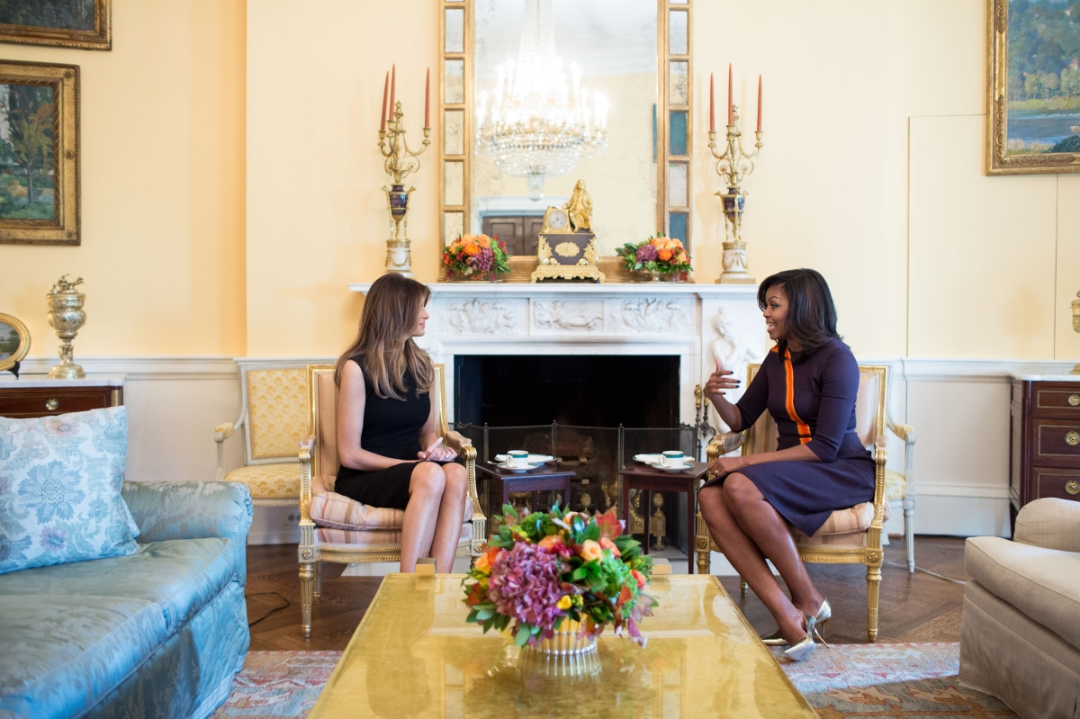 First Lady Michelle Obama meets with Melania Trump for tea in the Yellow Oval Room of the White House on Nov. 10, 2016.