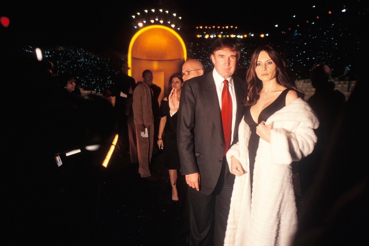 Donald Trump and Melania Knauss backstage at a Victoria Secret's fashion show in New York city on Nov. 14, 2002.