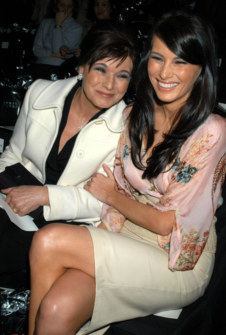 Melania Knauss and her mother, Amalija Ulčnik, attend the Zac Posen Fall Fashion Show at Bryant Park in New York City on Feb. 12, 2004.