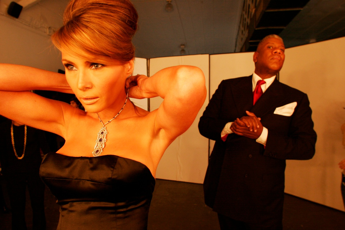 Melania Trump and Andre Leon Talley during her fitting for the Costume Institue Gala on April 26, 2005.
