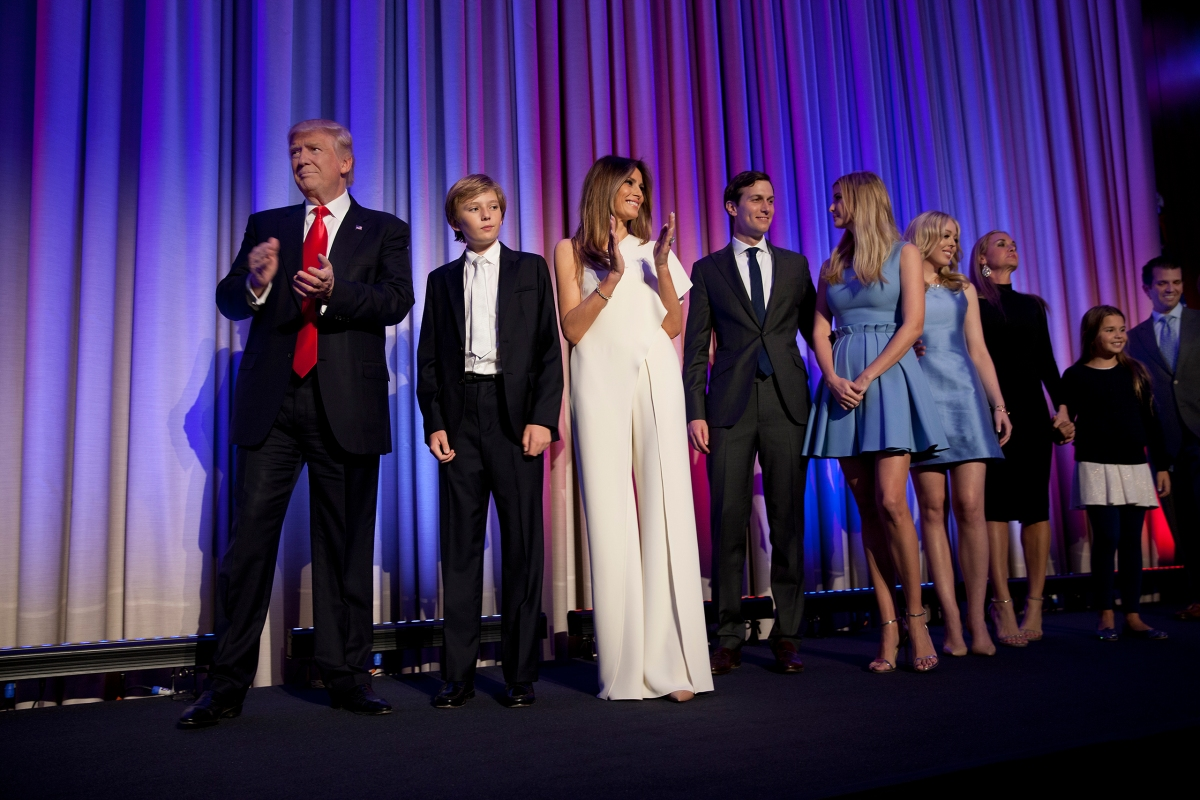 Donald Trump is joined onstage by his family at his election Victory Party in New York's Manhattan borough, on Nov. 9, 2016.