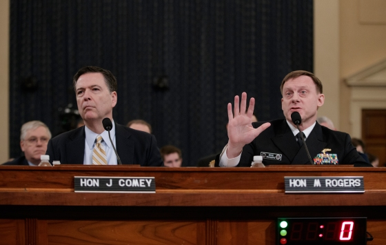 Both FBI Director Comey, left, and NSA chief Rogers said they could find no evidence for Trump's claims that Obama had bugged Trump's phone calls.