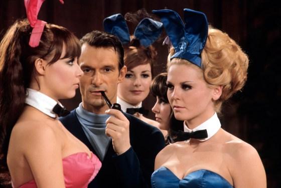 Hugh Hefner, Playboy founder at his mansion in 1966.
