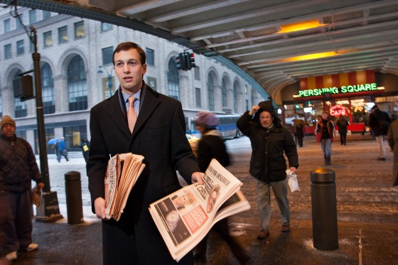 Jared Kushner handing out free copies of The New York Observer's first issue published under his new ownership, in front of Grand Central Station 42nd St., New York City, Feb. 14, 2007. 2/14/07 Photo of Jared Kushner hawking The New York Observer in front of Grand Central Sation 42nd St. Photo by Joe Fornabaio (joefornabaio.com)