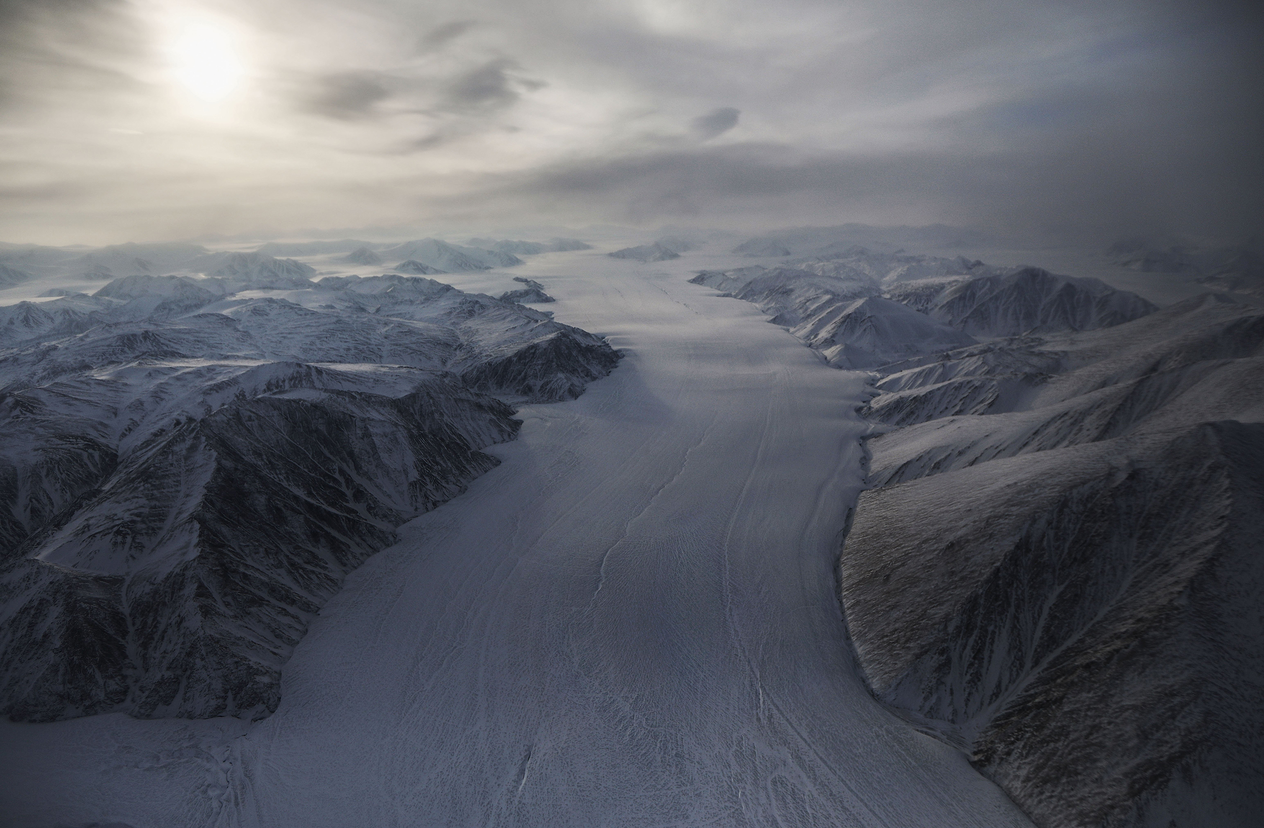 A section of a glacier above Canada's Ellesmere Island on March 29.