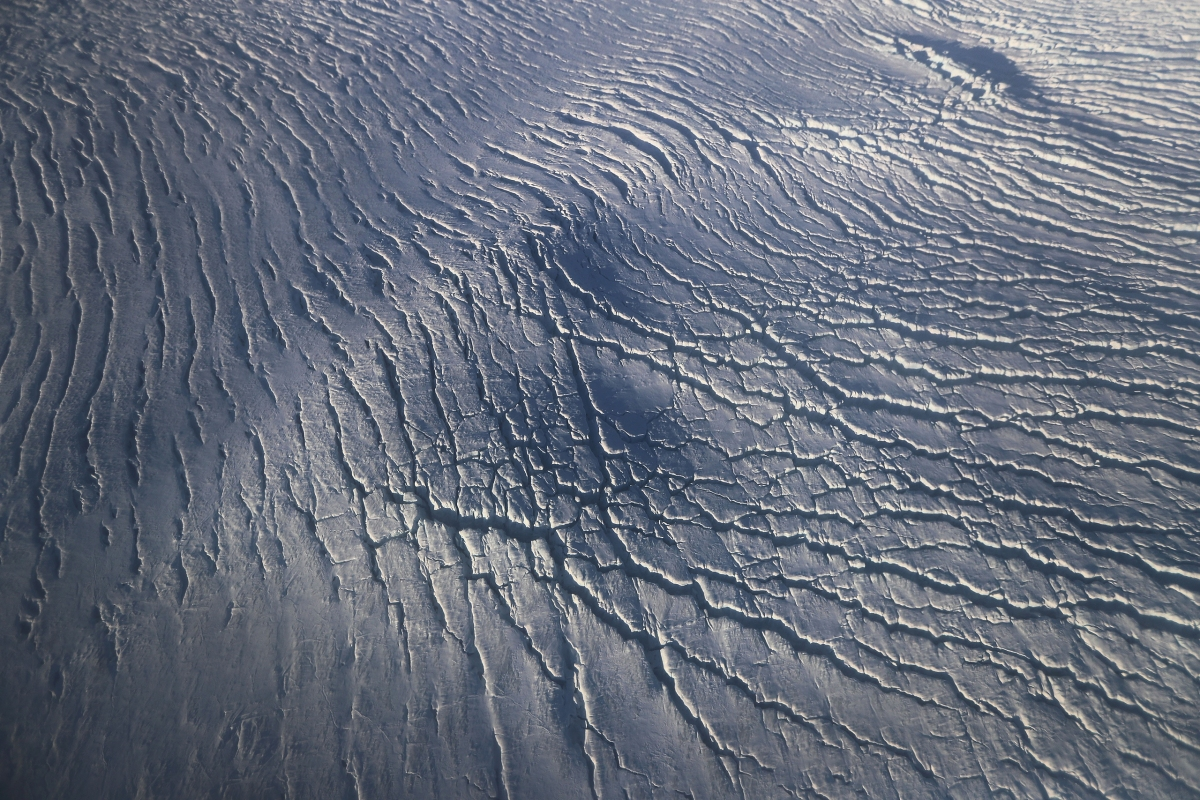 Crevasses in a glacier along the Upper Baffin Bay coast on March 27.