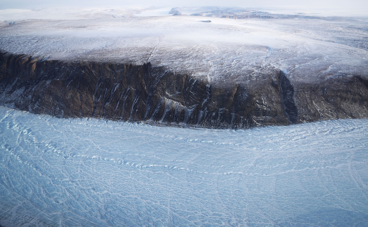 Greenland's ice sheet is retreating due to warming temperatures.