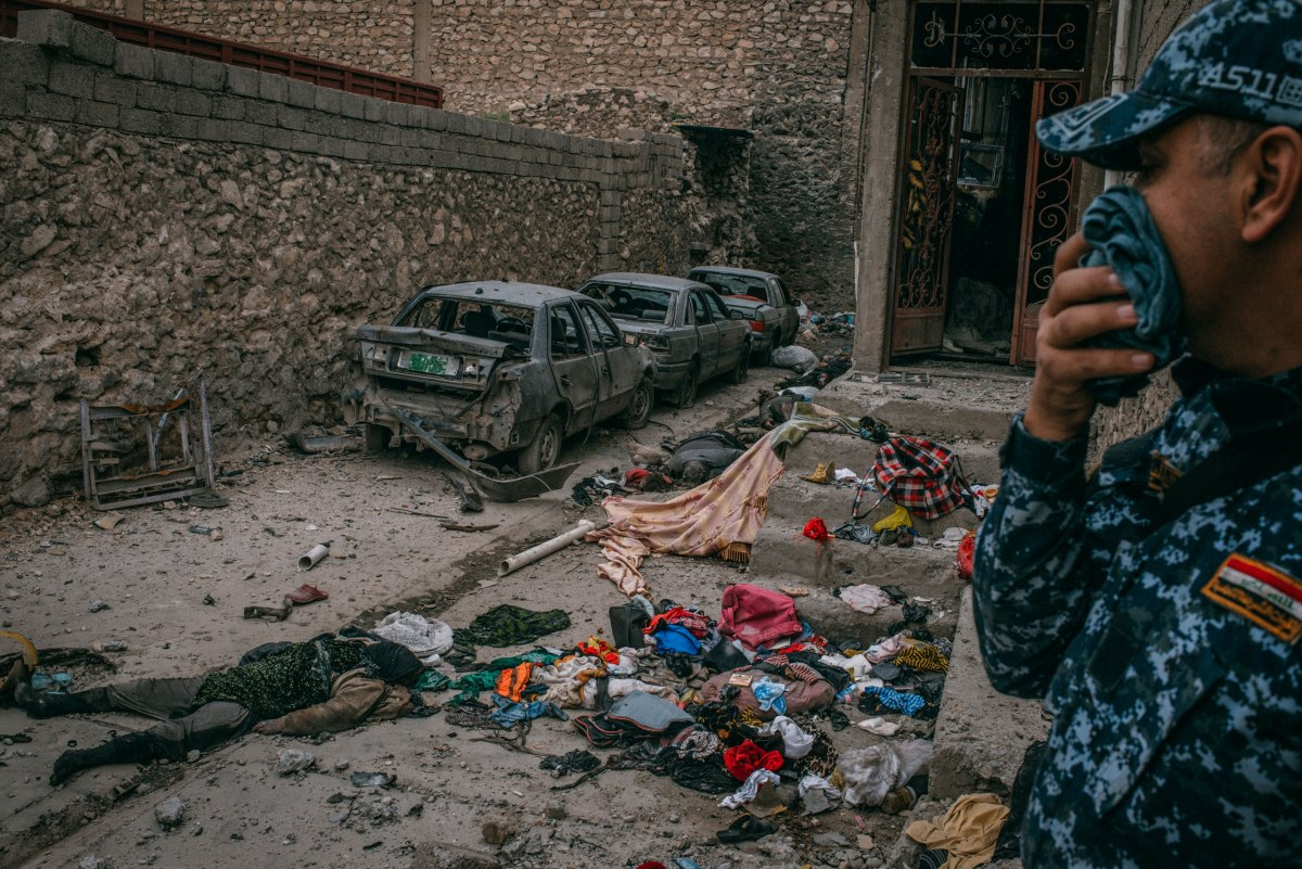 The alley where some 16 civilians were killed in the Dawasa neighborhood of Mosul, photographed on March 30.